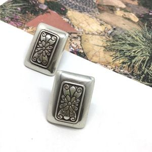 Vintage Brighton carved rectangle clip on earrings